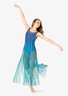 WATERCOLOUR LONG TANK MESH LYRICAL DRESS