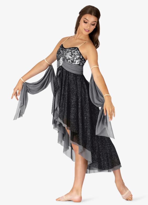 GLITTER MESH HIGH-LOW CAMISOLE DRESS
