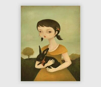 Portrait with Black Bunny