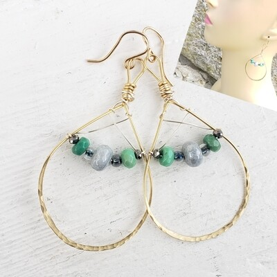 Green, Gray and Gold Earrings
