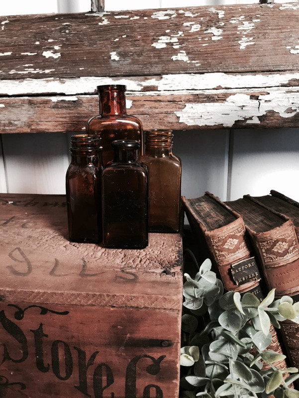 Curated set of 4 Amber bottles