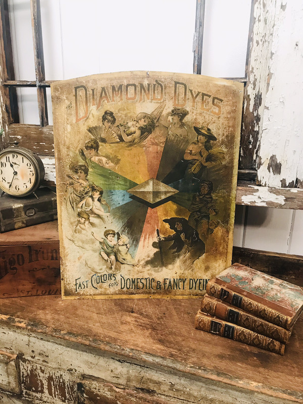 Antique diamond dyes metal sign