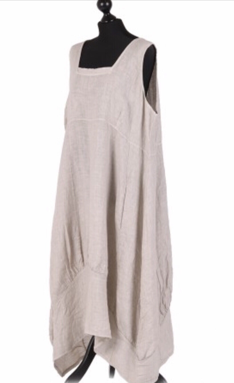 "European Linen Dress ""Beige"" ""Eleanor"""