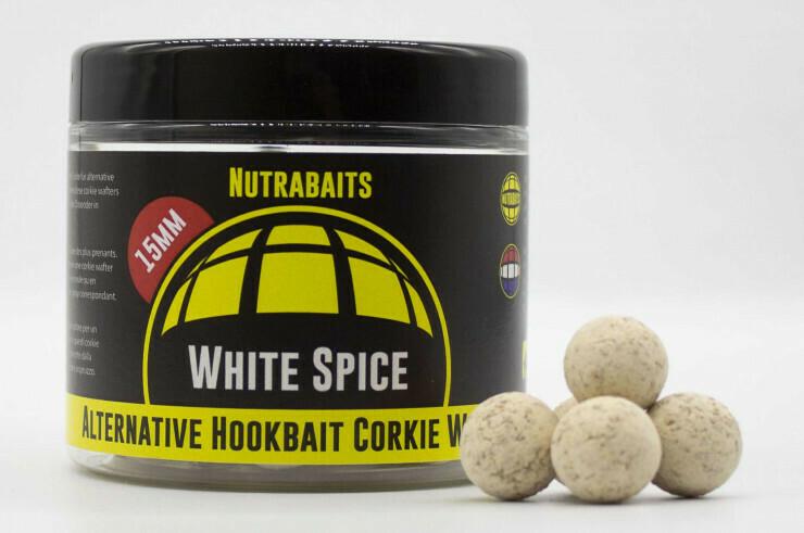 Бойлы нейтральной плавучести Corkie Wafters White Spice Hi Attract Alternative Hook bait