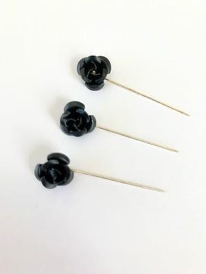 Black Flower Pins Pack of 12