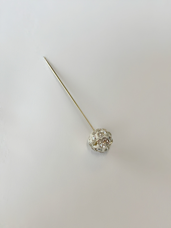 White Glitter Pin