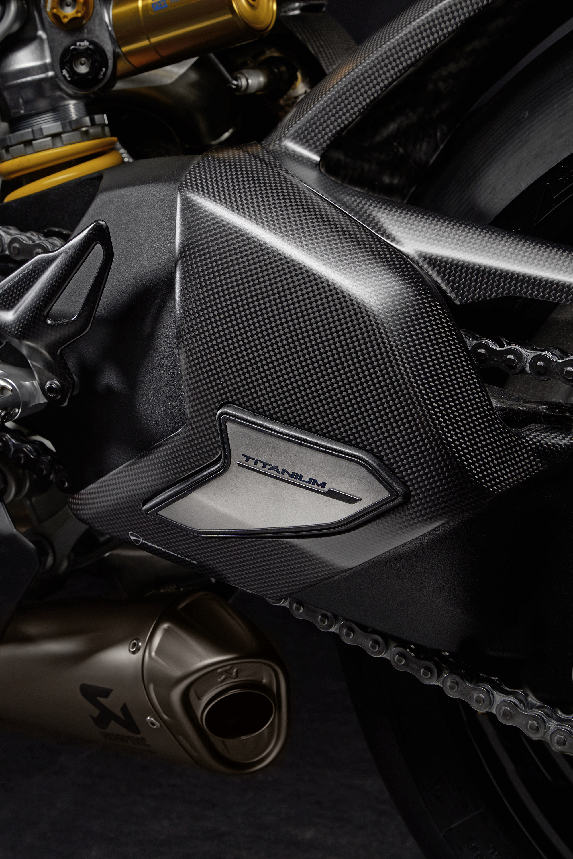 Carbon and titanium swingarm guard.
