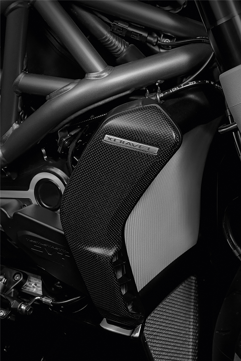 Carbon cover for water radiator.