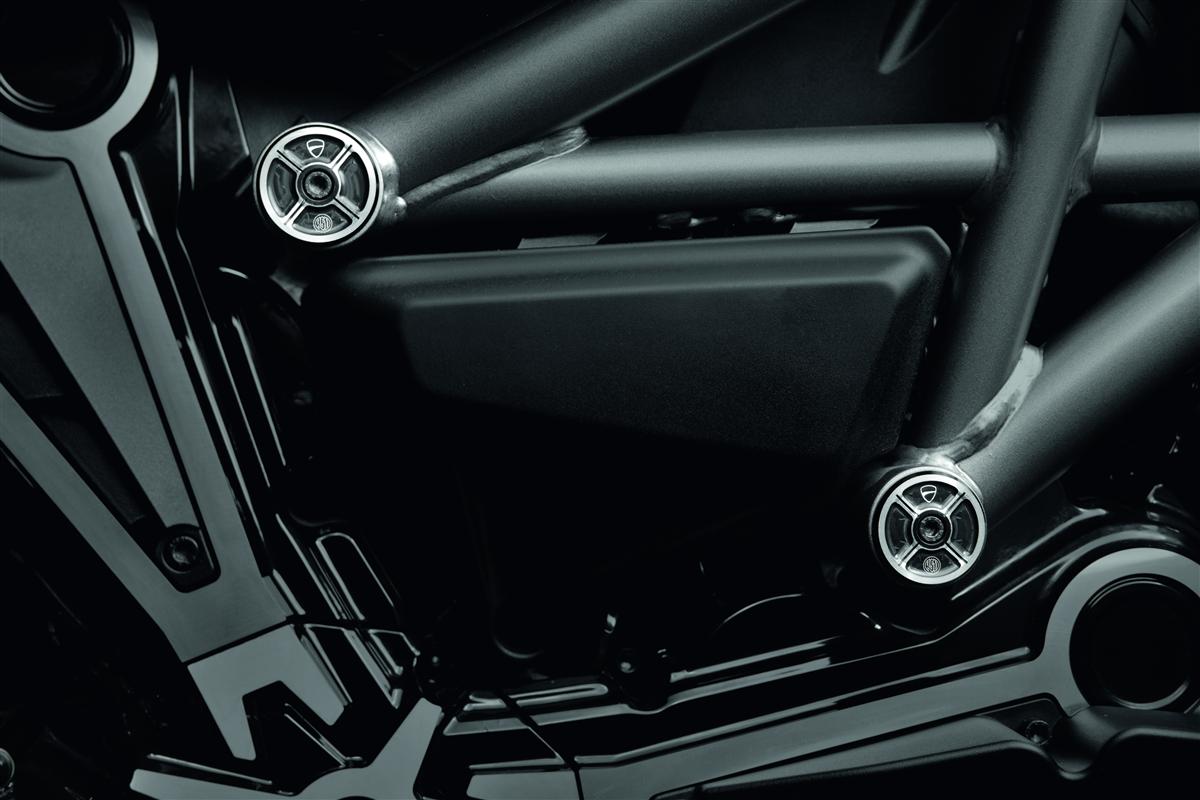 Billet aluminium frame plugs.