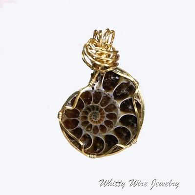 Wire Wrapped Ammonite Pendant