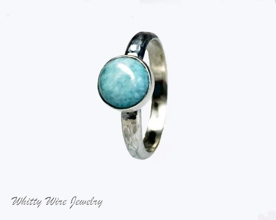 Sterling Silver Larimar Stone Ring: Made to order
