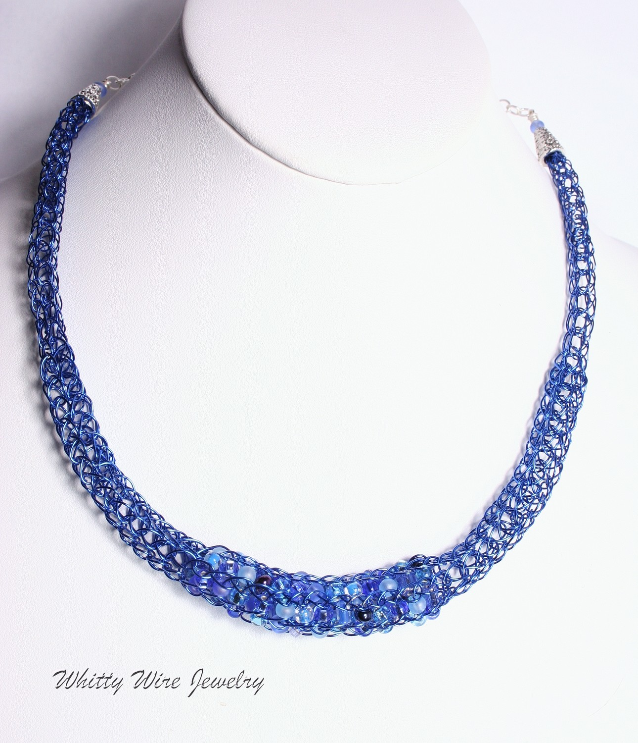 Blue Knit Wire Necklace with Blue Glass Beads