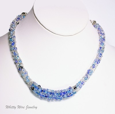 Silver Knit Wire Necklace with Blue Glass Beads