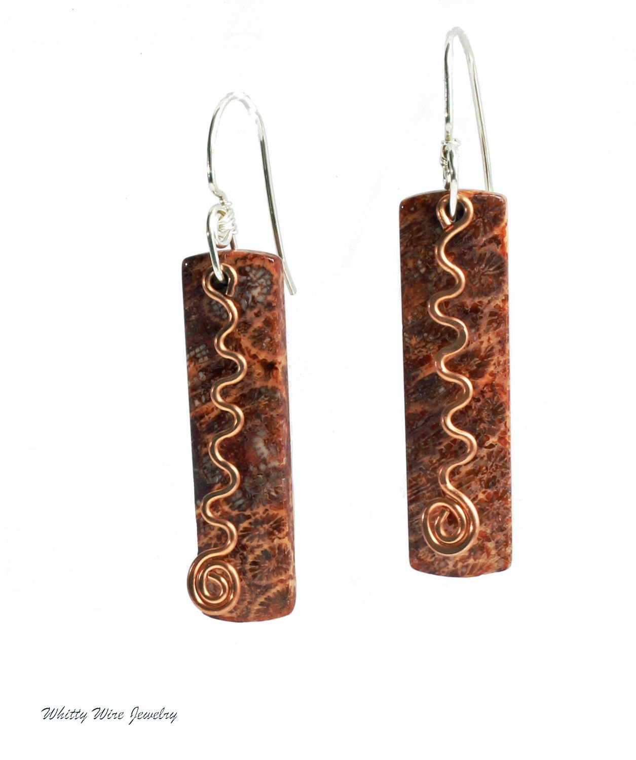 Fossilized Coral Earrings with Copper Accent