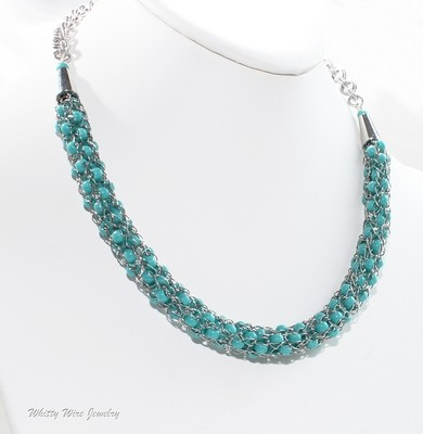 Viking Knit Necklace with Turquoise Colored Beads