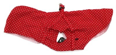 Red EXTRA SMALL Dog Harness Raincoat with Hood and Leash Hole