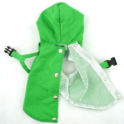 Green SMALL Dog Harness Raincoat with Hood and Leash Hole