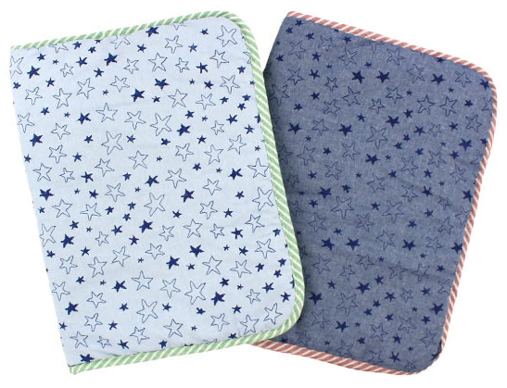 Breathable Quilted Small Pet Mat (Light Blue or Dark Blue Denim Stars)