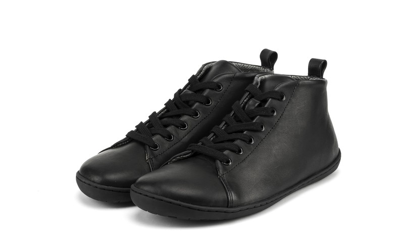 Mukishoes black leather shoe with lining