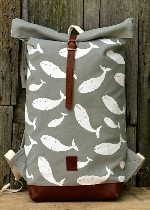 Backpack Grey with whales