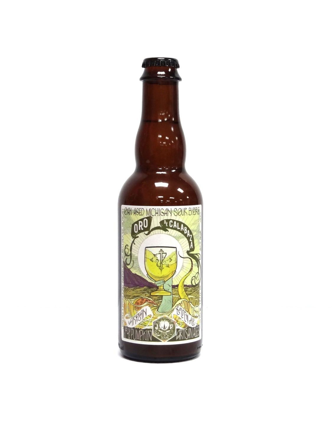 Oro De Calabaza Oak Aged Sour Biere By Jolly Pumpkin from Dexter, MI 12.7oz Single Bottle (F1-5)2