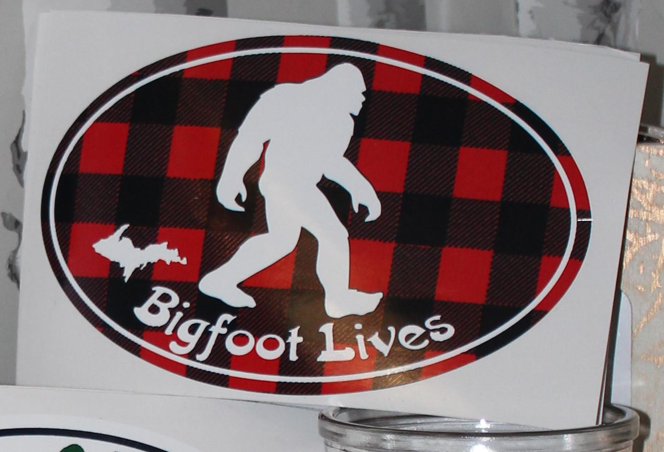 Sticker: Bigfoot Lives (plaid)