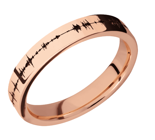 14K Rose Gold 4mm Flat Band with Polish Finish 14KR4F/LCVSOUNDWAVE - Polish