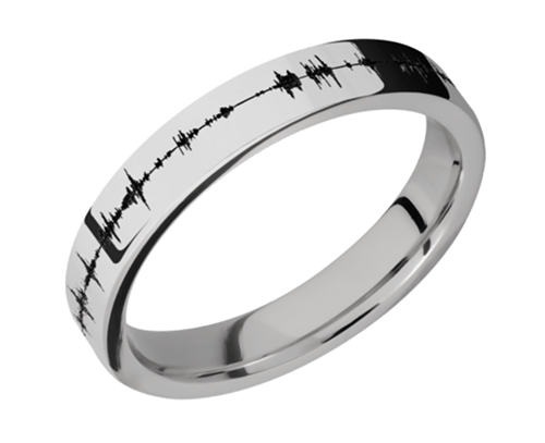 Platinum Flat Band 4mm w/black Soundwave PLAT4F/LCVSOUNDWAVE - Polish