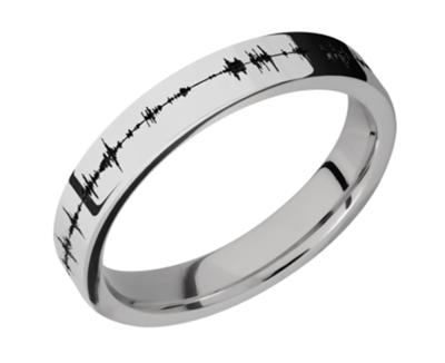 Platinum Flat Band 4mm w/black Soundwave