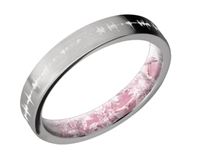 Titanium Flat Band - 4mm wide Satin finish w/white Soundwave
