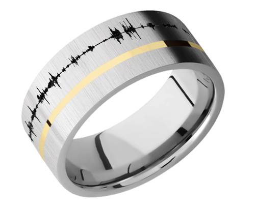 Titanium Flat band with one 1 mm Off Center inlay of 14K Yellow Gold 9F11OC/14KY Cross-Satin