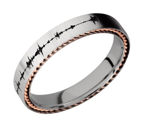 4mm Titanium flat band with two 1 mm Sidebraid inlays of 14K Rose Gold 4FSIDEBRAID/14KR Cross Satin
