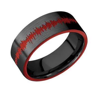 Zirconium band with two 1 mm Side inlays - red