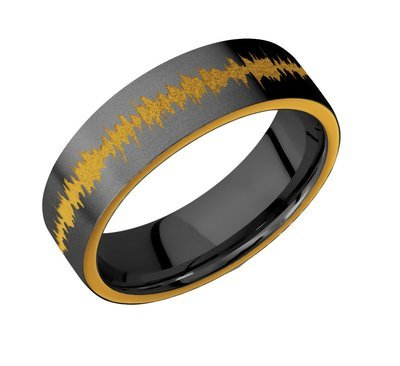 Zirconium band with two 1 mm Side inlays - Yellow