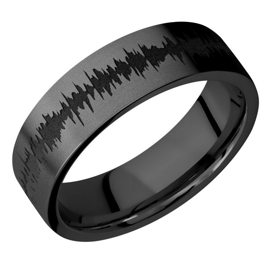 Zirconium band satin finish black on black