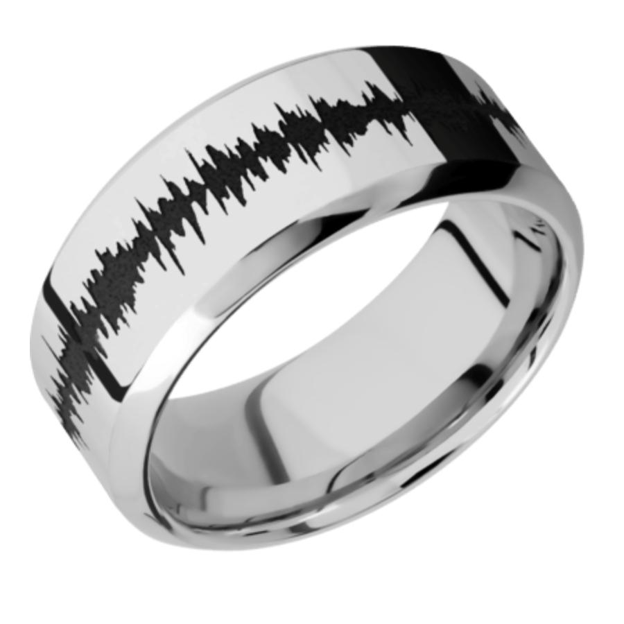 14K White Gold Band w/black Soundwave - choose your profile 14KW9D/LCVSOUNDWAVE