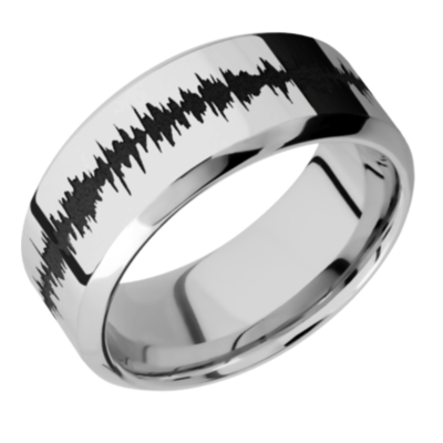 14K White Gold Band w/black Soundwave - choose your profile