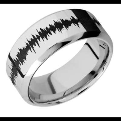 14K White Gold Band w/black Soundwave - choose your profile