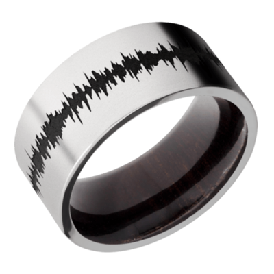 Cobalt Chrome Flat Band w/ black Soundwave and Wood Sleeve