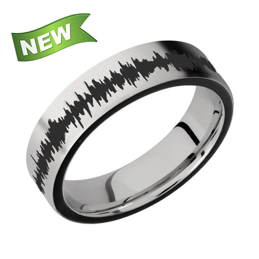 6mm Titanium band with two 1 mm Side color inlays & color Soundwave