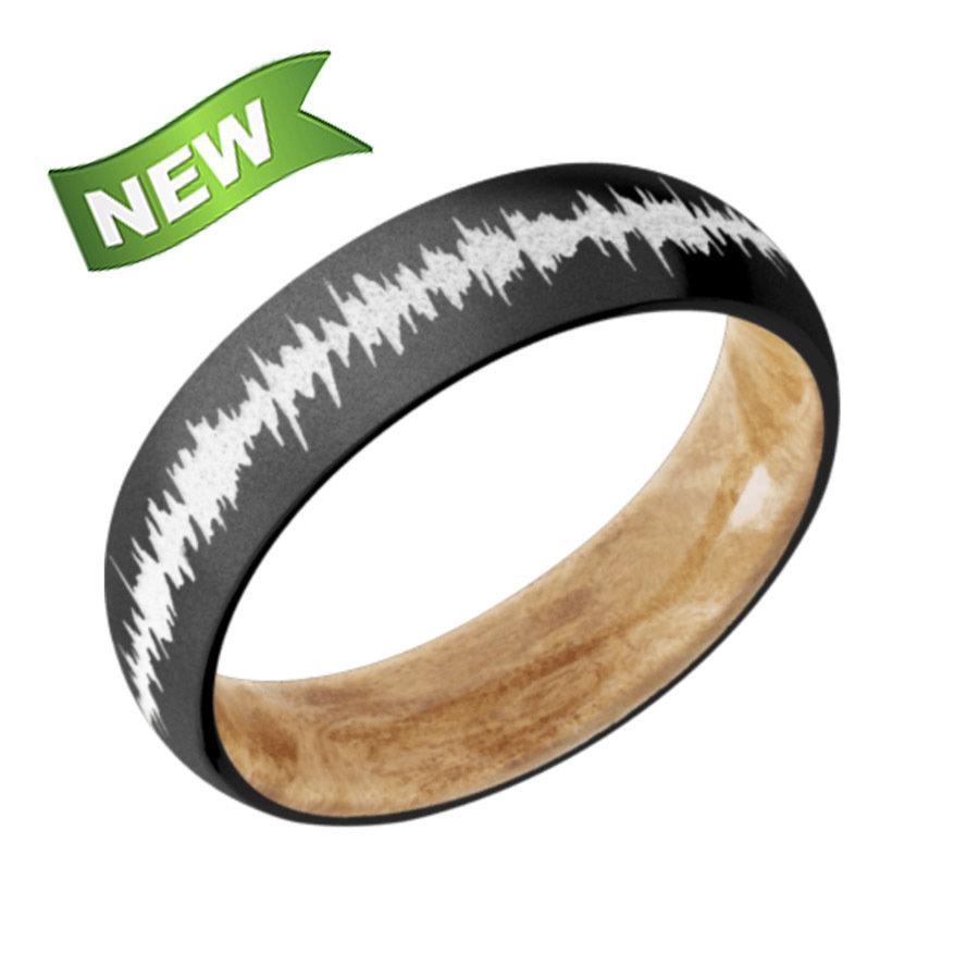 Zirconium Domed Band w/Boxelder Burl Wood Sleeve & white Soundwave HWSLEEVEZ6D Boxelder Burl sleeve Bead Finish