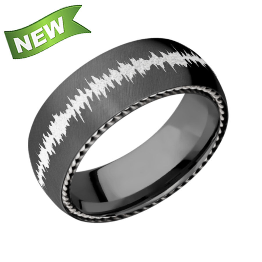 Zirconium Domed Band Bead-Polish w/1mm sidebraid inlay of 14K white gold Z8DSIDEBRAID/14KW
