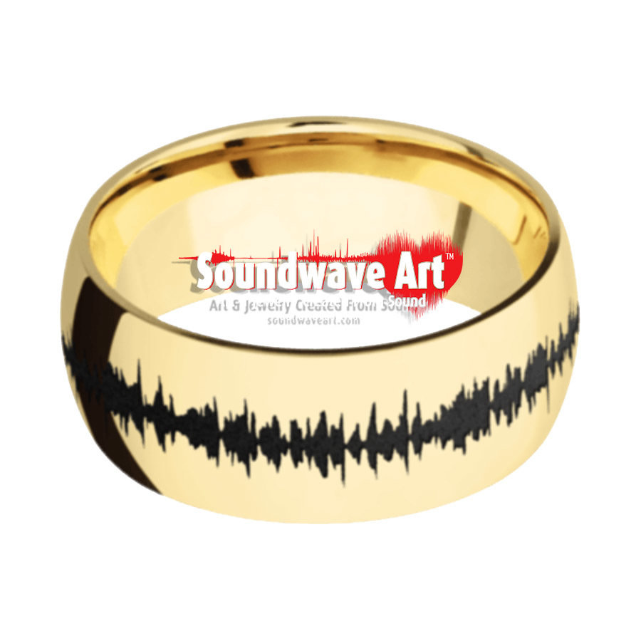 14K Yellow Gold domed band with polish finish & Black Soundwave