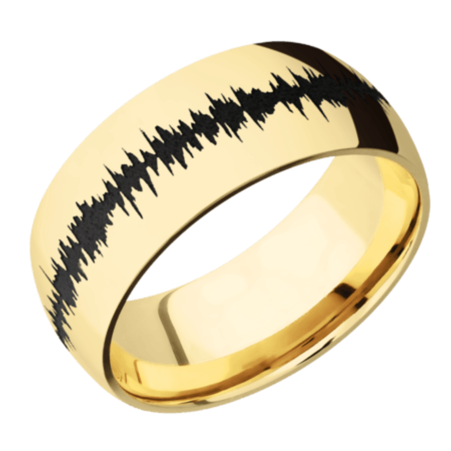 14K Yellow Gold domed band with polish finish & Black Soundwave 14KY9D