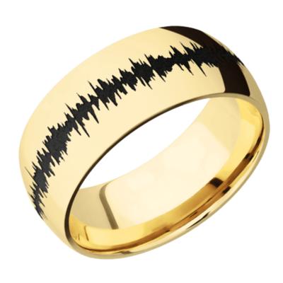 14K Yellow Gold domed band with polish finish & Black Soundwave