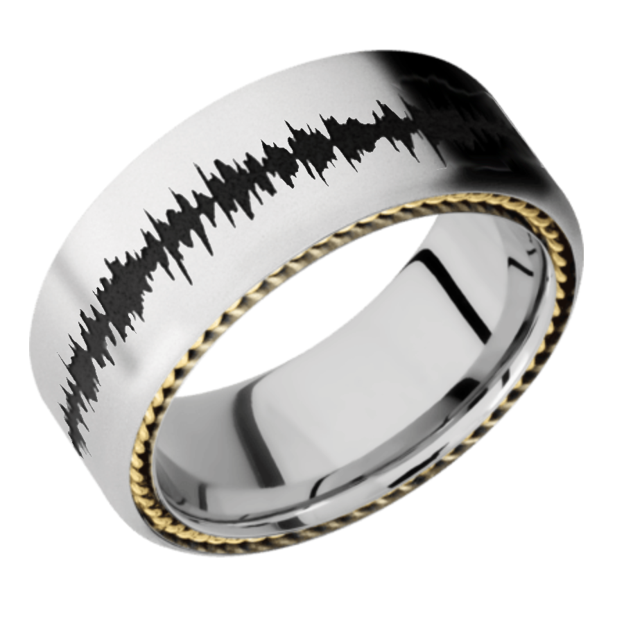 Cobalt Chrome Domed Band - 14K Yellow Gold Satin-Polish Finish