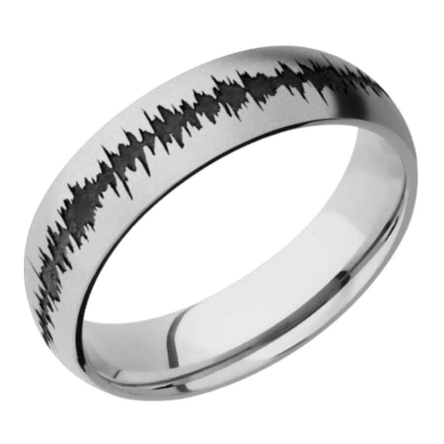 Platinum Domed Band w/black Soundwave