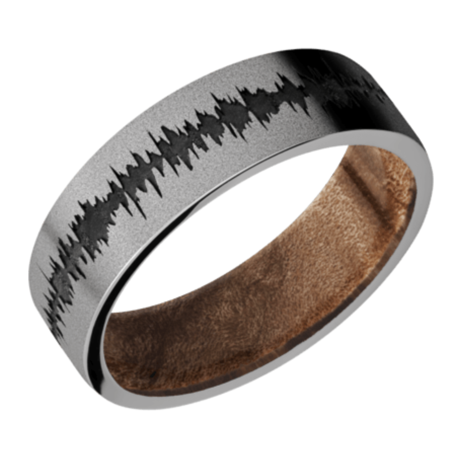 Titanium flat band with black Soundwave and Maple Burl Sleeve