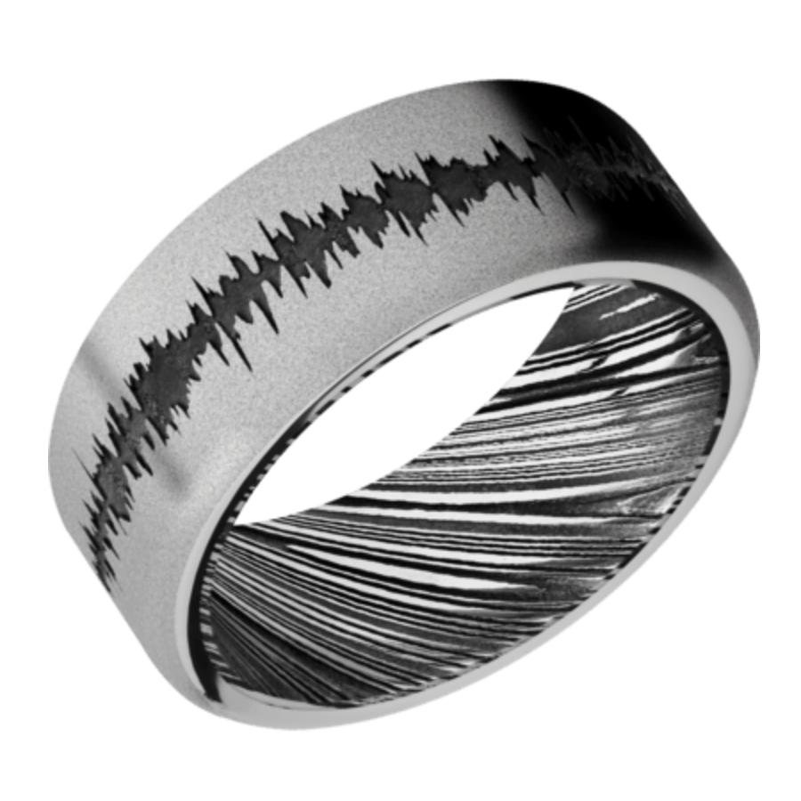 Cobalt Chrome Band w/Damascus Sleeve and black Soundwave WOODGRAINSLEEVECC9F/LCVSOUNDWAVE sand stone