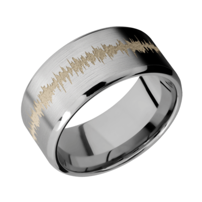 Titanium Beveled Band SATIN-POLISH w/color Soundwave